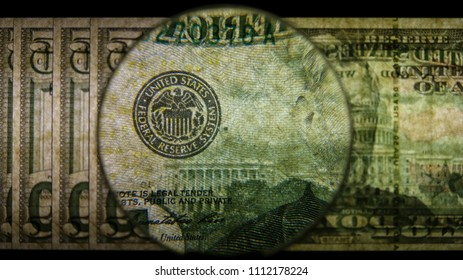 US 50 Obverse Art, Back Lit, Fanned, Black Background, Magnified, Federal Reserve Note,