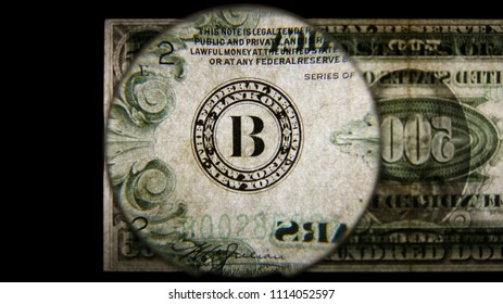 US 500 Obverse Art, Back Lit, Black Background, Magnified, Federal Reserve Note.