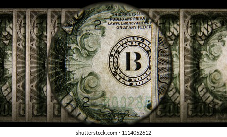 US 500 Obverse Art, Back Lit, Fanned, Black Background, Magnified, Federal Reserve Note.