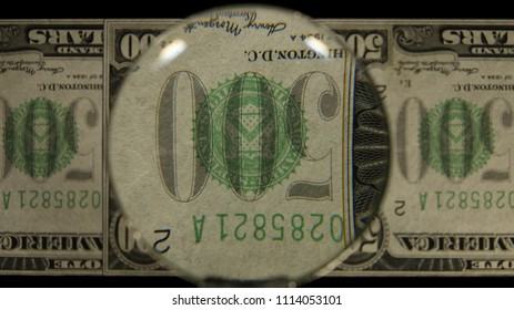 US 500 Obverse Art, Flipped, Front Lit, Fanned, Black Background, Magnified, Federal Reserve Note.