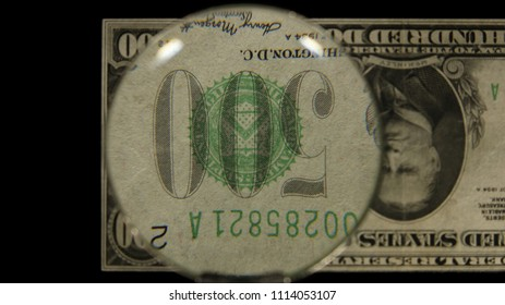 US 500 Obverse Art, Flipped, Front Lit, Black Background, Magnified, Federal Reserve Note.