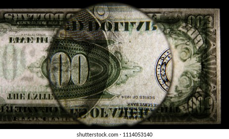 US 500 Obverse Art, Flipped, Back Lit, Black Background, Magnified, Federal Reserve Note.