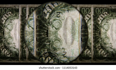 US 500 Obverse Art, Flipped, Back Lit, Fanned, Black Background, Magnified, Federal Reserve Note.