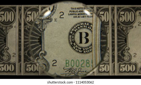 US 500 Obverse Art, Front Lit, Fanned, Black Background, Magnified, Federal Reserve Note.