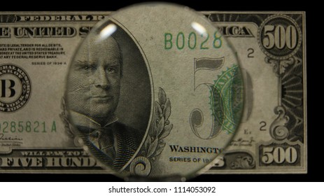 US 500 Obverse Art, Front Lit, Black Background, Magnified, Federal Reserve Note.