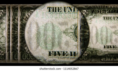 US 500 Reverse Art, Back Lit, Fanned, Black Background, Magnified, Federal Reserve Note.