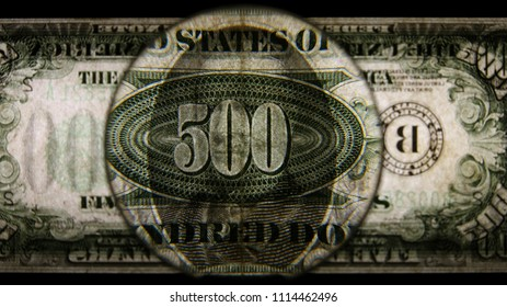 US 500 Reverse Art, Back Lit, Black Background, Magnified, Federal Reserve Note.