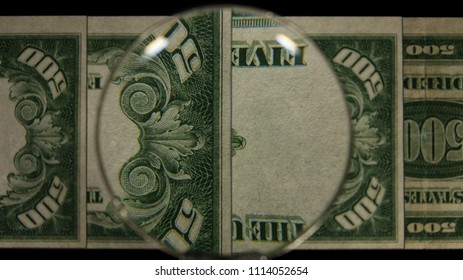 US 500 Reverse Art, Flipped, Front Lit, Fanned, Black Background, Magnified, Federal Reserve Note.