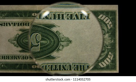 US 500 Reverse Art, Flipped, Front Lit, Black Background, Magnified, Federal Reserve Note.