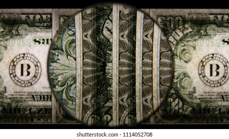 US 500 Reverse Art, Flipped, Back Lit, Fanned, Black Background, Magnified, Federal Reserve Note.