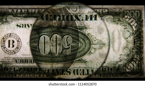 US 500 Reverse Art, Flipped, Back Lit, Black Background, Magnified, Federal Reserve Note.
