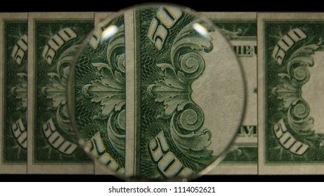 US 500 Reverse Art, Front Lit, Fanned, Black Background, Magnified, Federal Reserve Note.
