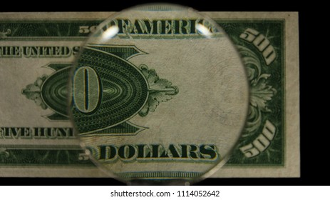 US 500 Reverse Art, Front Lit, Black Background, Magnified, Federal Reserve Note.