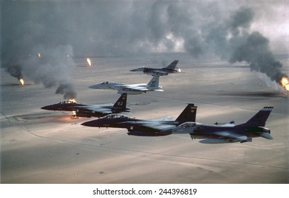 U.S. Air Force fighters patrol no-fly zone over Iraq. After First Gulf War in 1991 U.S. and Allied forces began Operation Southern Watch on Aug. 26 1992 to ensure Iraq's compliance with cease fire.