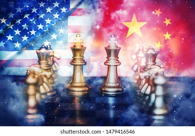 US America and China flags on chess pawns soldiers on a chessboard,Trade deal concept.USA and China trade war.