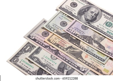 US american dollar money bills isolated on white background