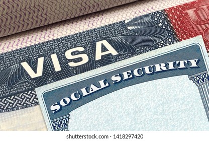 U.S. or American Visa on passport with Social Security Card