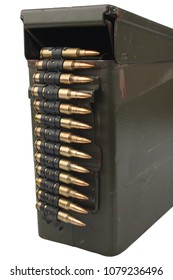 US Army Ammo Box with ammunition belt isolated on white background