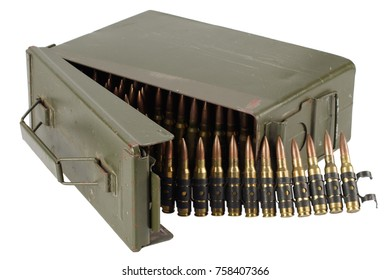 US Army Ammo Box with ammunition belt and bayonet isolated on white background