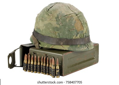 US Army Ammo Box with ammunition belt and helmet isolated on white background