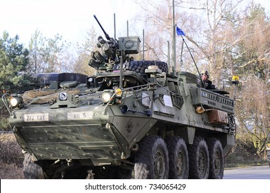 Us army convoy, 27.3.2017, Czech Republic, crossing to Ukraine from Old Boleslav,Demonstration of the power of the United States Convoy and British Army such as Stryker, Hummers armored transporters