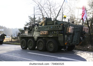 Us army convoy, 27.3.2017, Czech Republic, crossing to Poland from Old Boleslav,The Czech Republic will come to the United States Convoy and the British Army like Stryker, Hummers or British Jackal