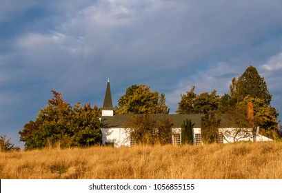 US Army Fort Lawton Chapel in autumn, Discovery Park, Seattle. The park was created from Fort Lawton (1900-2011). Photo was taken in 2008 after the park was created, but before complete fort closure.