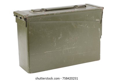 US Army Green Ammo Box isolated on white background