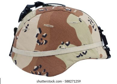 us army kevlar helmet with a desert camouflage cover and night vision mount