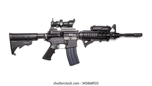 US Army M4A1 Carbine isolated on a white background, studio shot