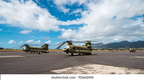 US Army National Guard helicopters on an airfield on OAHU, HI, August 2017