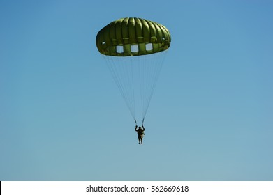 US Army paratroopers display at air show festival.