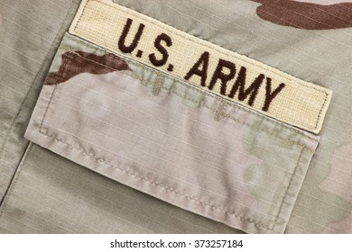 US Army patch on desert uniform