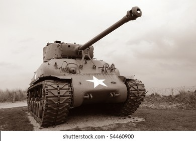 US Army Sherman tank at D Day Normandy 1944 Allied invasion beaches historic site in France in sepia