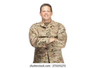 U.S. Army Soldier, Sergeant, Arms Crossed and Smiling