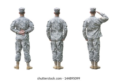 US Army soldier in three positions; Parade rest, Attention, Saluting. Back view, isolated on white background (Memorial day, Veteran's day, 4th of july, Independence day)