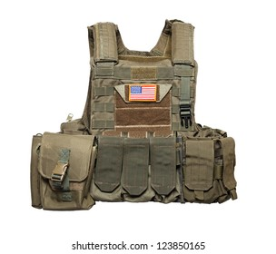 U.S. Army tactical bulletproof vest. Isolated on a white background. Studio shot