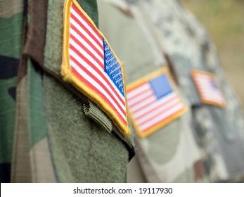 US army uniform badge flags
