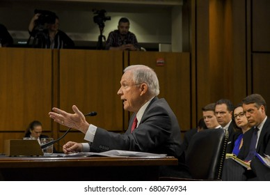 US. Attorney General Jeff Sessions responds to a question from one of the members of the Senate Intelligence  Committee during his testimony in front of the Committee, Washington DC, June 13, 2017.