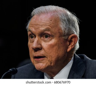 US. Attorney General Jeff Sessions responds to questions from one of the members of the Senate Intelligence Committee during his testimony in front of the Committee. Washington DC, June 13, 2017.
