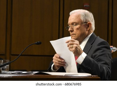 US. Attorney General Jeff Sessions during his testimony in front of the Senate Intelligence  Committee, Washington DC, June 13, 2017.