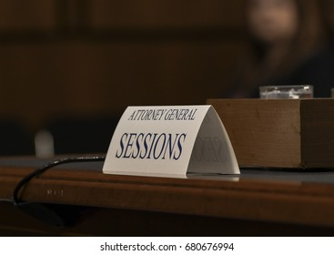 US. Attorney General Jeff Sessions  name plate on witness table during his testimony in front of the Senate Intelligence  Committee, Washington DC, June 13, 2017.