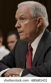 US. Attorney General Jeff Sessions responds to questions from the Vice Chairman of the Senate Intelligence Committee during his testimony in front of the Committee. Washington DC, June 13, 2017.