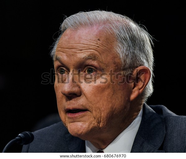 Us Attorney General Jeff Sessions Responds Stock Photo (Edit