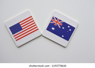 US and Australia flags on white background. copy space