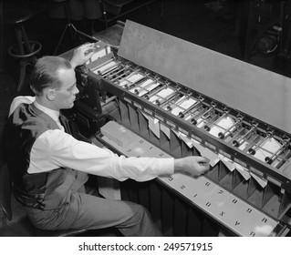 U.S. Bureau of the Census computer operator at a punch card sorter, ca. 1940.