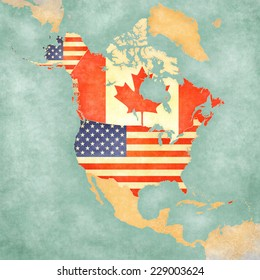 us and canada on the outline map of north america the map is in vintage