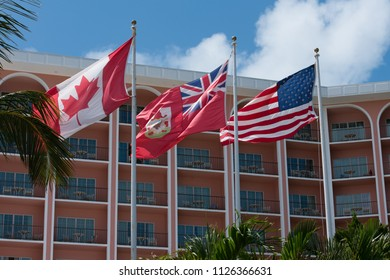 U.S., Canadian and British flags flying on the island of Bermuda