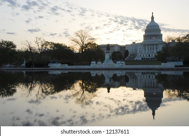 US Capital Building with Reflection