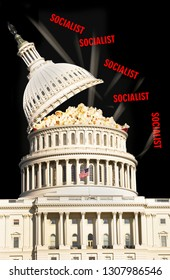 US Capital in Washington DC with Socialist popping out.